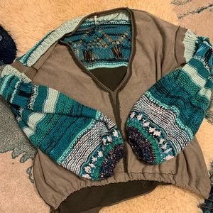 Free people crochet sleeve pull over sweatshirt